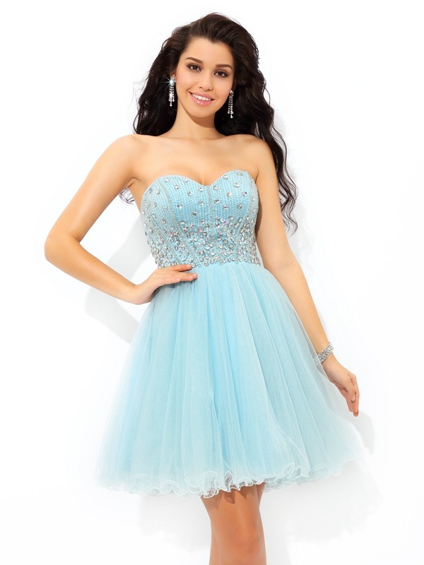 First Impressions Princess Style Sweetheart Beading Short Satin Cocktail Dresses