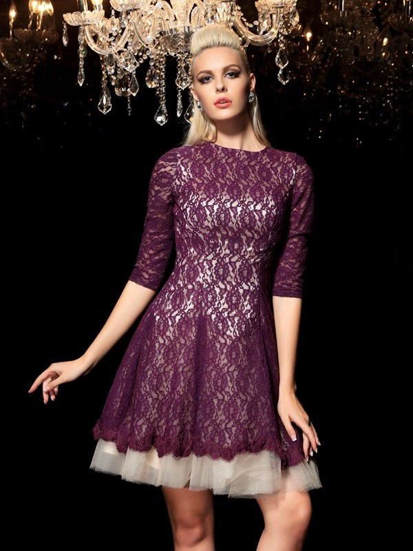 Too Much Fun Princess Style Sheer Neck Lace Short Lace Cocktail Dresses