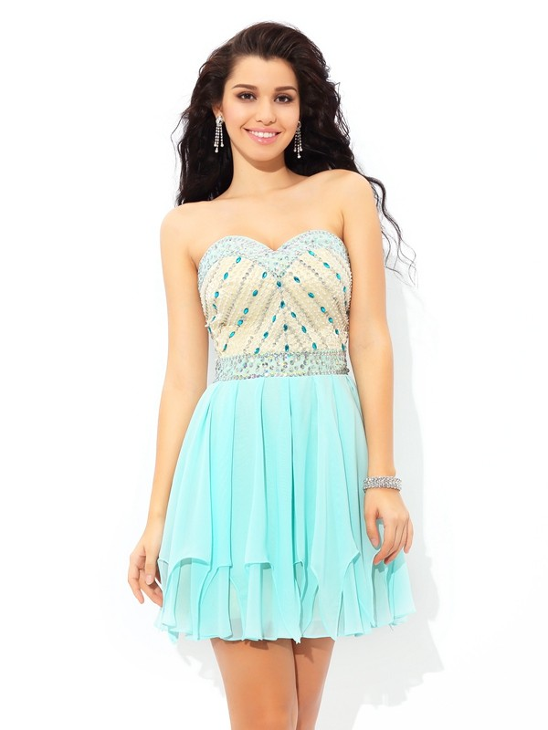 Open to Adoration Princess Style Sweetheart Beading Short Chiffon Cocktail Dresses