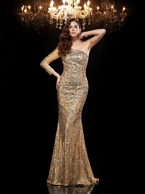 Modern Mood Mermaid Style One-Shoulder Beading Long Sequins Dresses