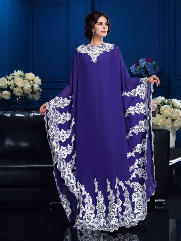 Eye-Catching Charm Princess Style Scoop Applique Long Chiffon Mother of the Bride Dresses