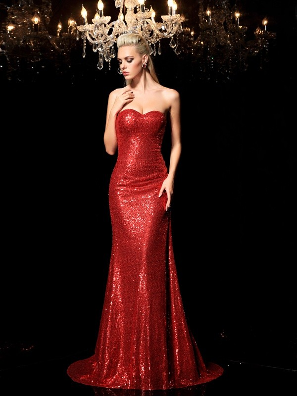 Creative Courage Sheath Style Sweetheart Sequin Long Sequins Dresses