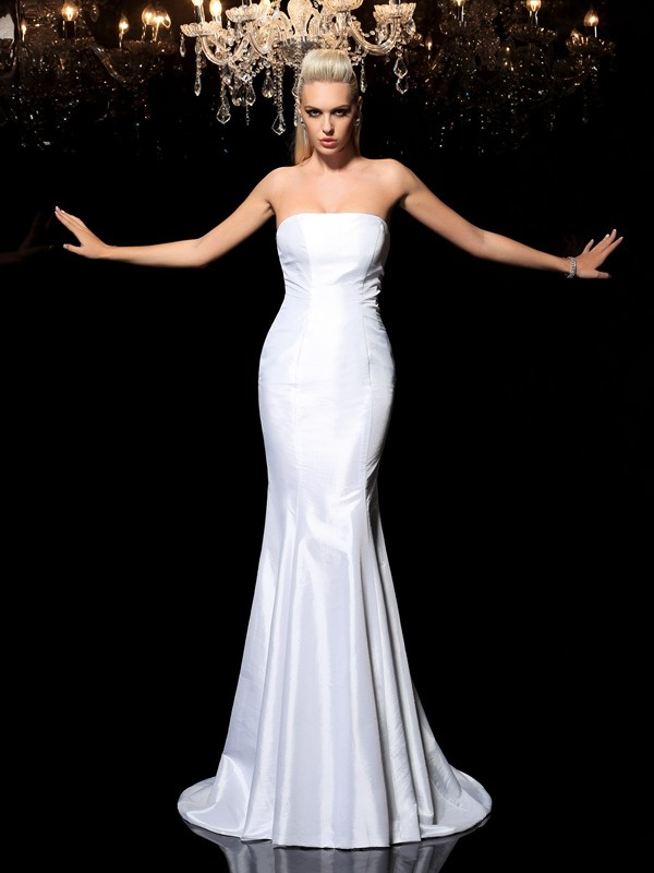 Styled to Smile Sheath Style Strapless Long Satin Dresses