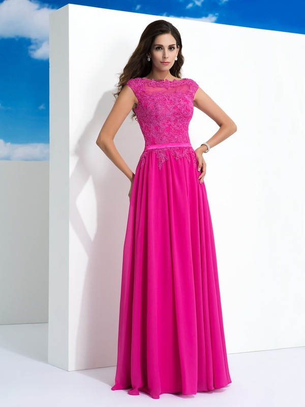 Pretty Looks Princess Style Sheer Neck Lace Long Chiffon Dresses