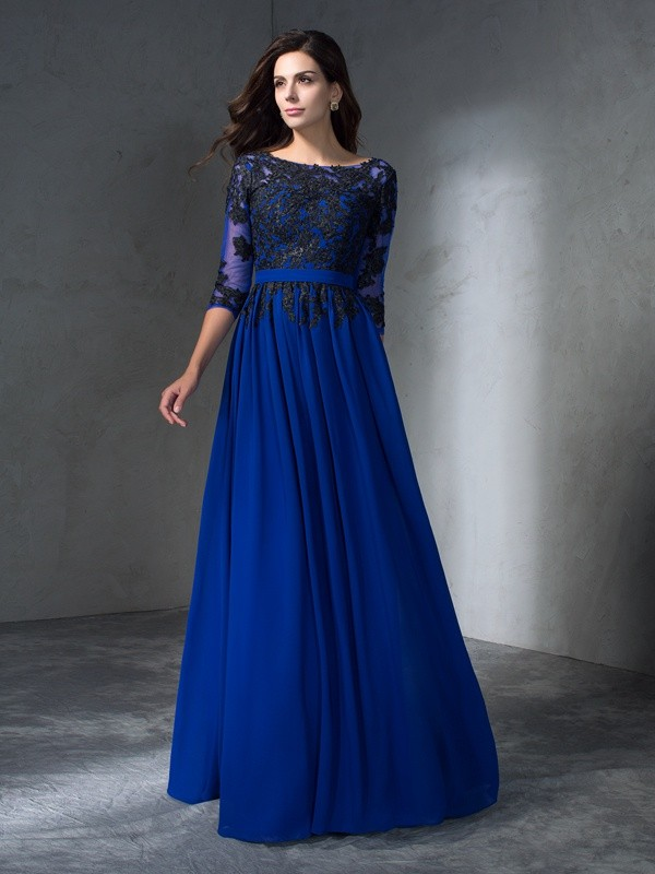 First Impressions Princess Style Scoop Applique Long Chiffon Dresses
