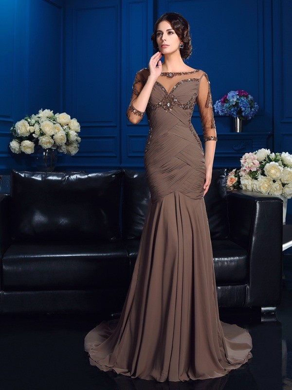 Fabulous Fit Sheath Style Scoop Beading Long Chiffon Mother of the Bride Dresses