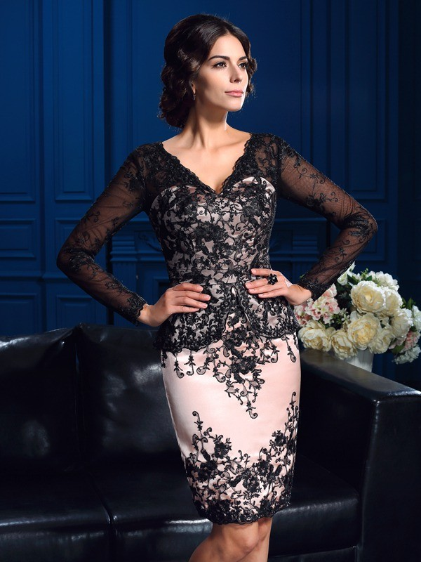Pleasant Emphasis Sheath Style V-neck Applique Short Lace Mother of the Bride Dresses