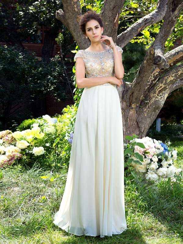 Efflorescent Dreams Princess Style Sheer Neck Rhinestone Long Chiffon Dresses