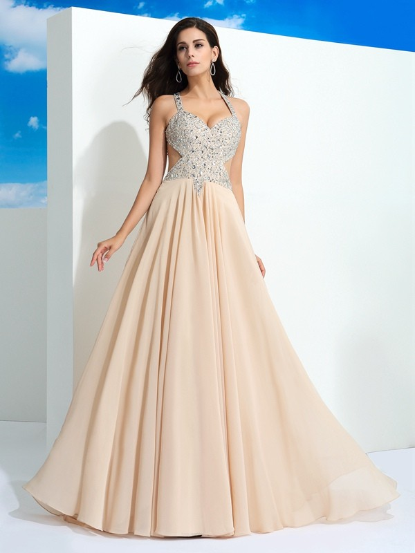 Cheerful Spirit Princess Style Straps Beading Long Chiffon Dresses