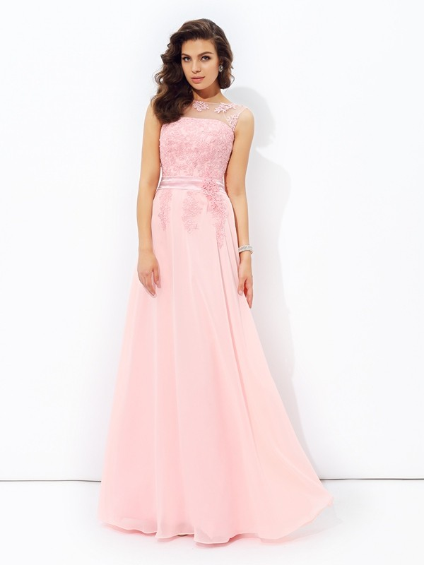 Open to Adoration Princess Style Scoop Applique Long Chiffon Dresses