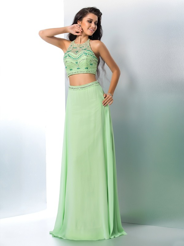 Romantic Vibes Princess Style Halter Beading Long Chiffon Two Piece Dresses
