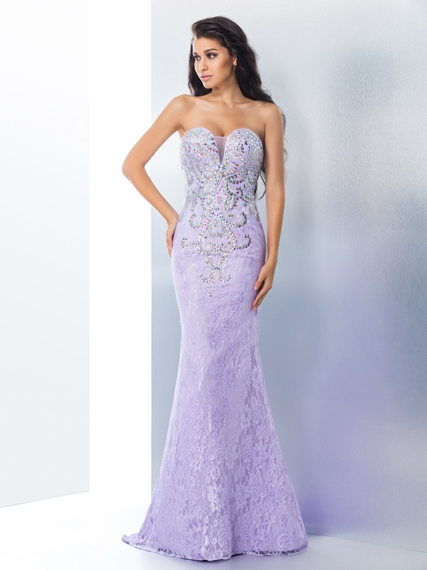 Embracing Grace Mermaid Style Sweetheart Beading Long Lace Dresses