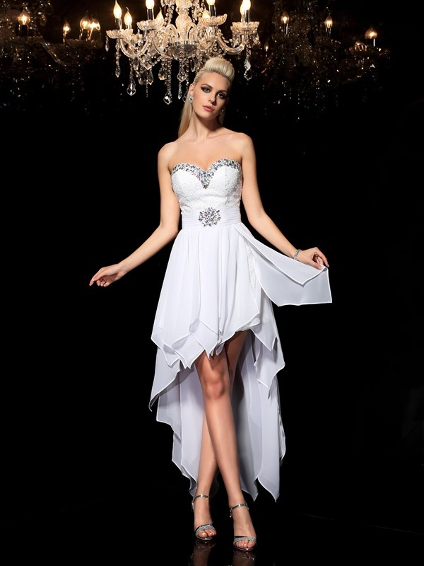 Befits Your Brilliance Princess Style Sweetheart Beading High Low Chiffon Cocktail Dresses