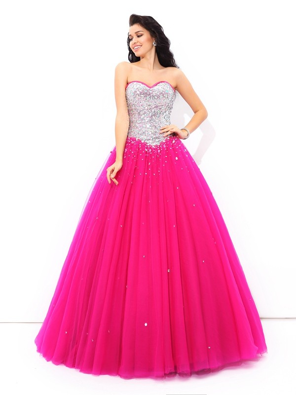 Savor the Occasion Ball Gown Beading Sweetheart Long Satin Quinceanera Dresses