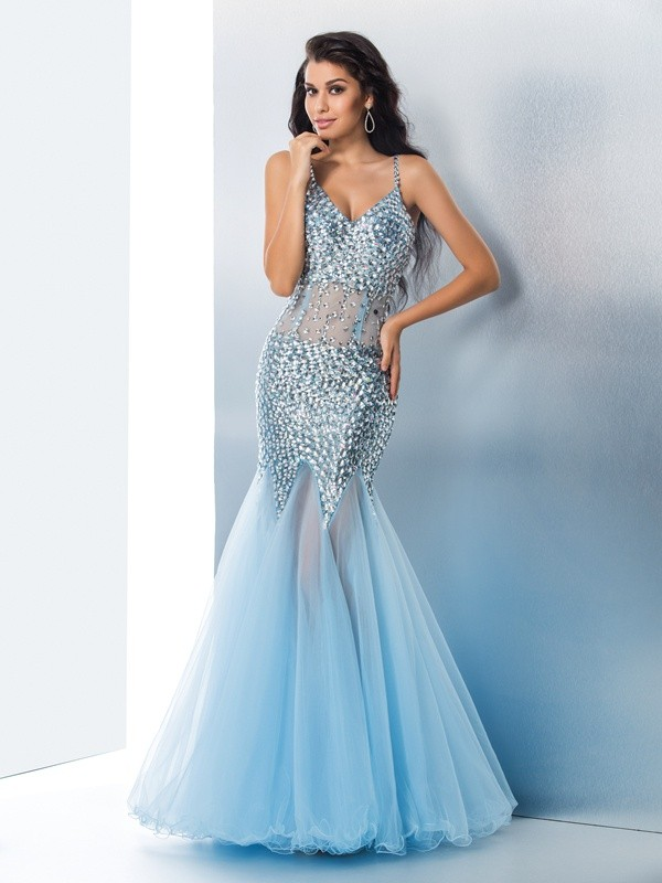 Pleasant Emphasis Mermaid Style Spaghetti Straps Sequin Long Organza Dresses