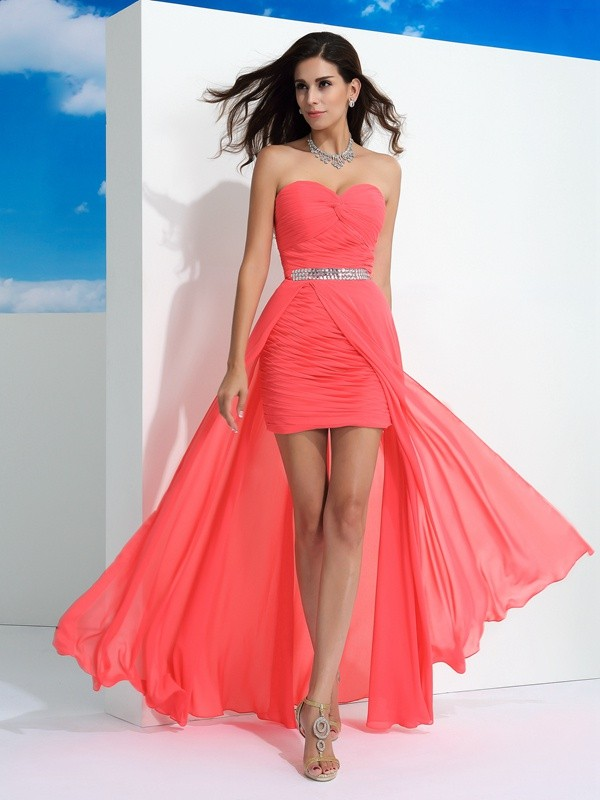Treasured Reveries Sheath Style Sweetheart Pleats Long Chiffon Dresses