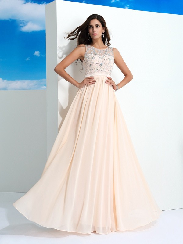Limitless Looks Princess Style Sheer Neck Beading Long Chiffon Dresses