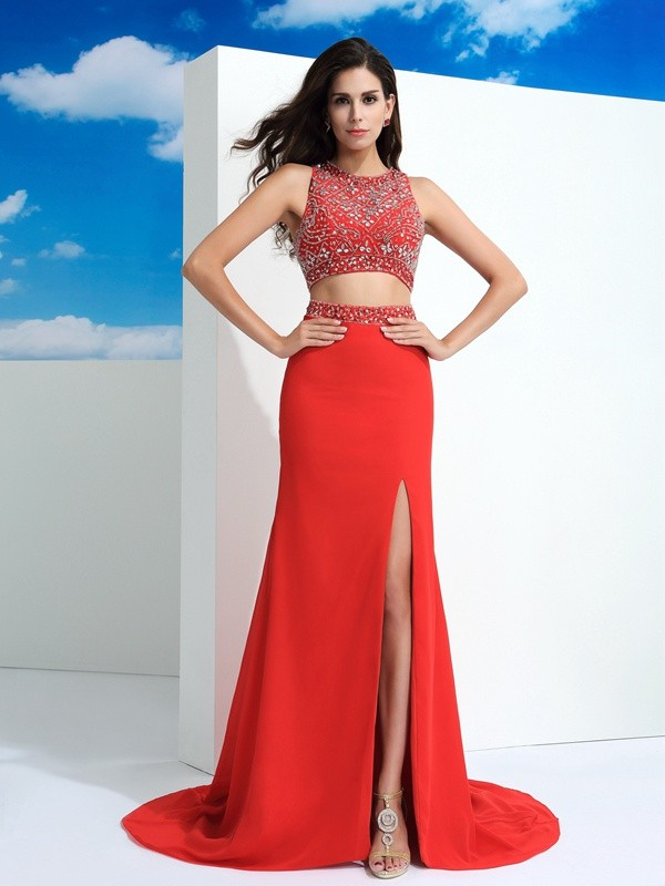 Cordially Delighted Sheath Style Scoop Beading Long Chiffon Two Piece Dresses