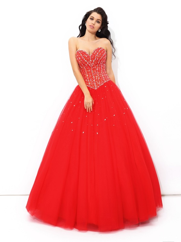 Styled to Smile Ball Gown Sweetheart Beading Long Net Quinceanera Dresses