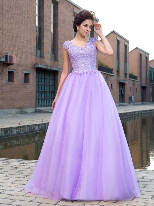 First Impressions Ball Gown V-neck Applique Long Net Dresses
