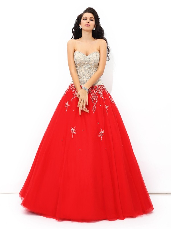 Visual Moment Ball Gown Sweetheart Beading Long Satin Quinceanera Dresses