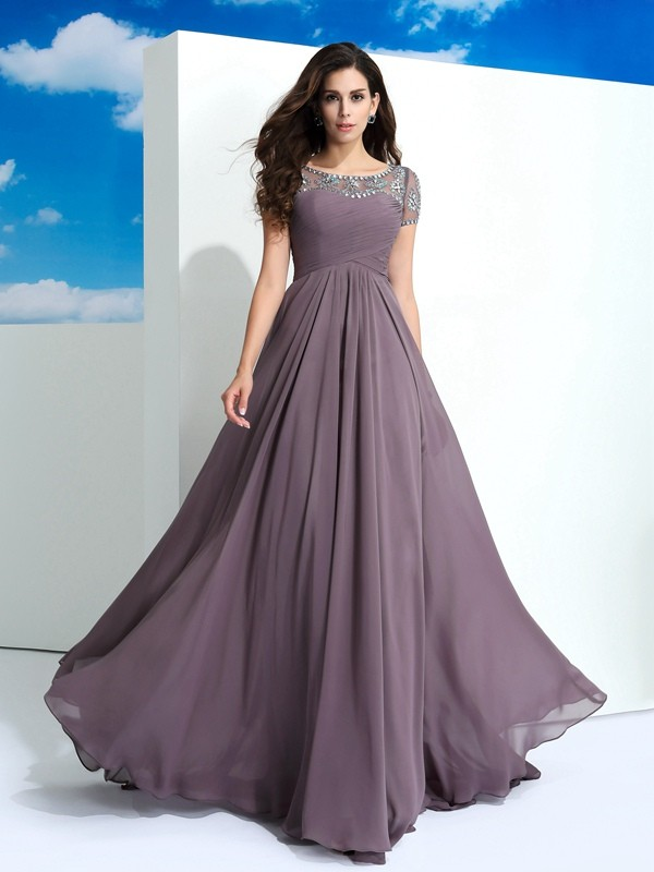 Open to Adoration Princess Style Sheer Neck Beading Long Chiffon Dresses