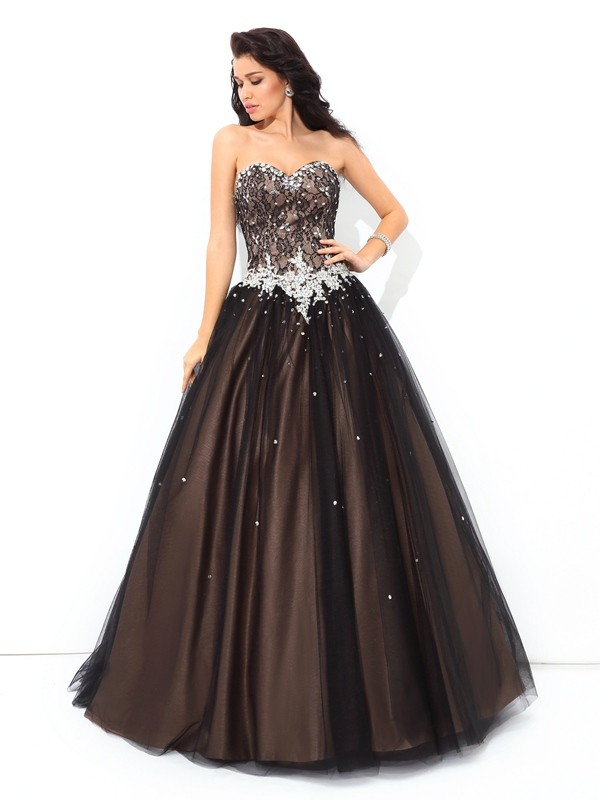 Lively Identity Ball Gown Sweetheart Beading Long Net Quinceanera Dresses