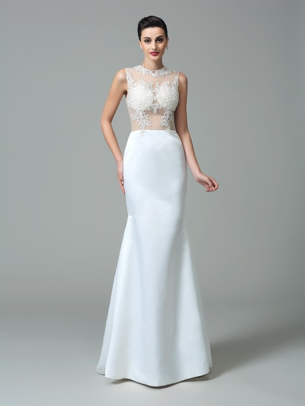 Naturally Chic Sheath Style Jewel Applique Long Satin Dresses