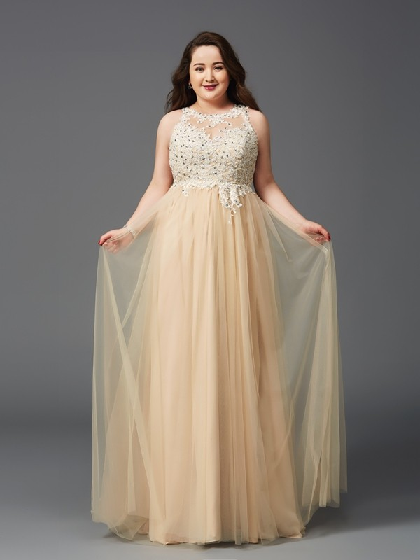 Pretty Looks Princess Style Scoop Rhinestone Long Net Plus Size Dresses
