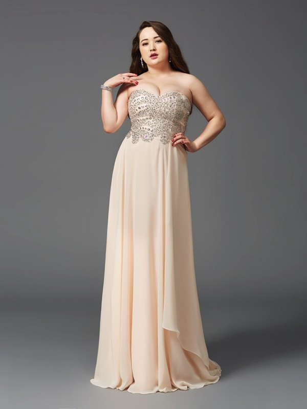 Pleased to be Me Princess Style Sweetheart Rhinestone Long Chiffon Plus Size Dresses