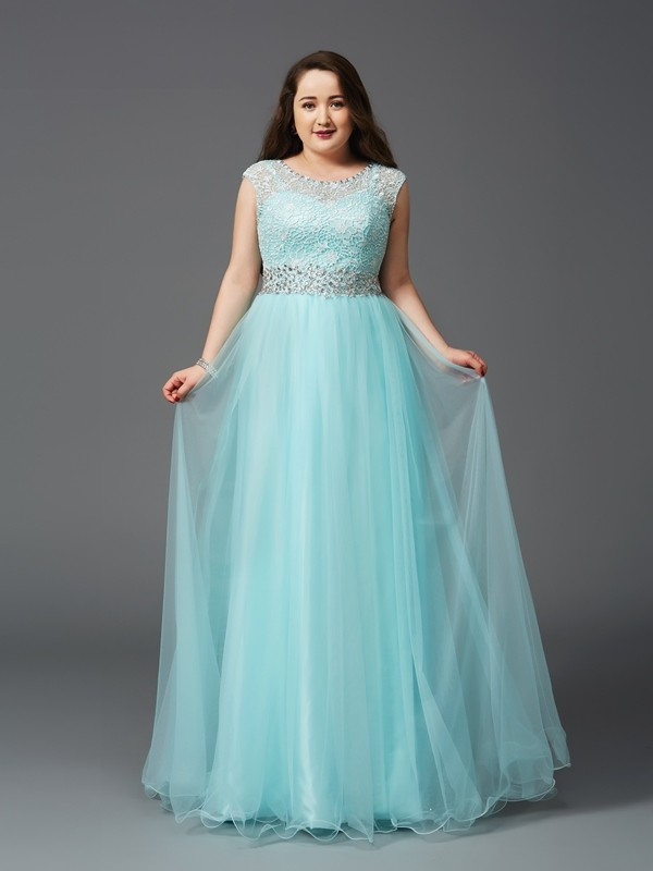 Confident Option Princess Style Scoop Rhinestone Long Elastic Woven Satin Plus Size Dresses