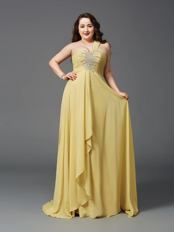 Fabulous Fit Princess Style One-Shoulder Rhinestone Long Chiffon Plus Size Dresses