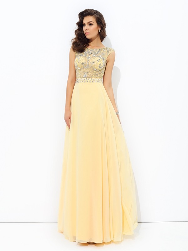 Open to Adoration Princess Style Bateau Beading Long Chiffon Dresses