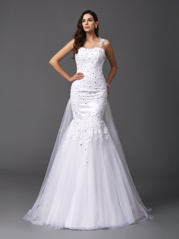 Lively Identity Mermaid Style Straps Beading Long Net Wedding Dresses