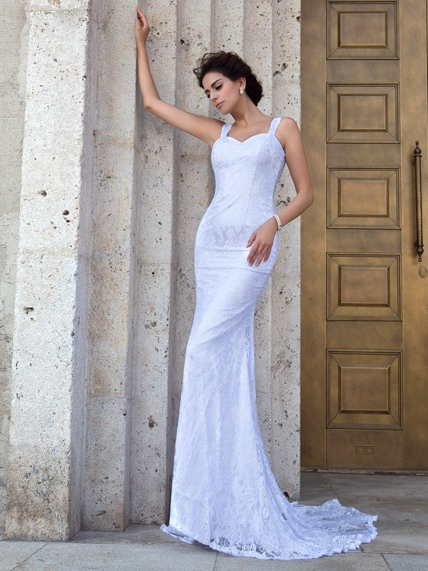Defined Shine Sheath Style Straps Lace Long Lace Wedding Dresses