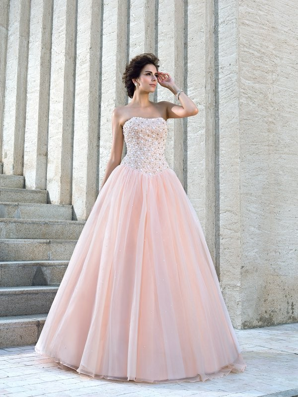 Savor the Occasion Ball Gown Strapless Beading Long Satin Wedding Dresses