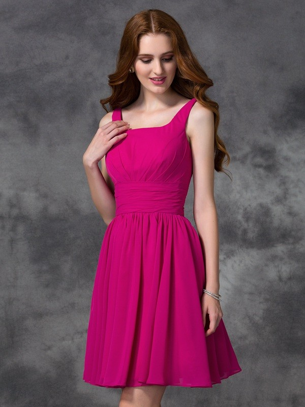 Too Much Fun Princess Style Square Short Chiffon Bridesmaid Dresses