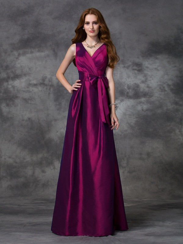 Dancing Queen Princess Style V-neck Sash/Ribbon/Belt Long Taffeta Bridesmaid Dresses