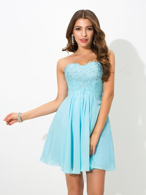 Fresh Picks Princess Style Sweetheart Beading Short Chiffon Cocktail Dresses