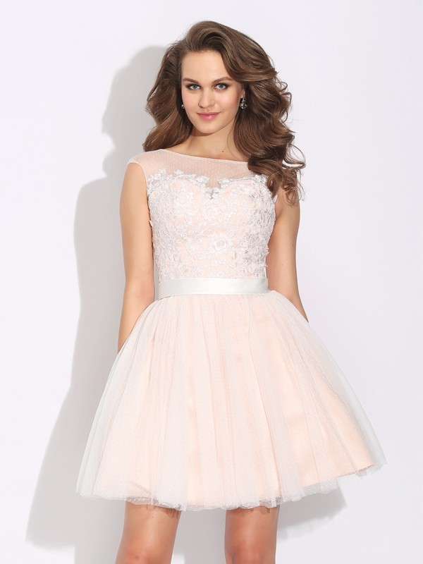 Touch of Texture Princess Style Bateau Ruffles Short Net Dresses