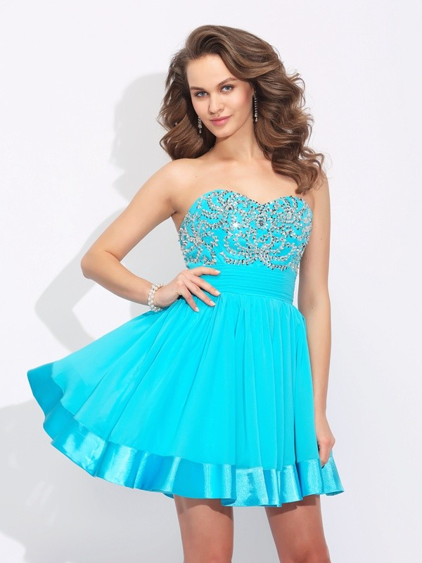 Easily Adored Princess Style Sweetheart Ruffles Short Chiffon Dresses