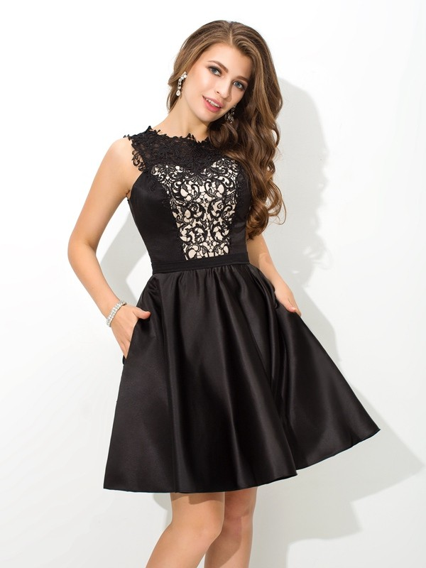 Embracing Grace Princess Style Scoop Lace Short Satin Cocktail Dresses