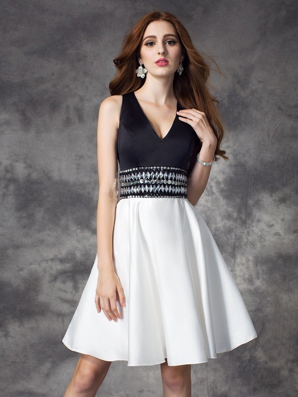 Dashing Darling Princess Style V-neck Rhinestone Short Satin Dresses