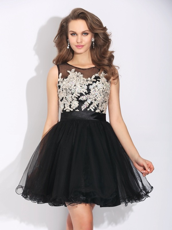 Creative Courage Princess Style Scoop Ruffles Short Net Dresses