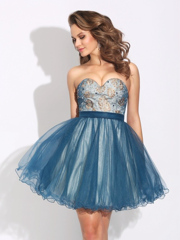 Styled to Smile Princess Style Sweetheart Ruffles Short Net Dresses
