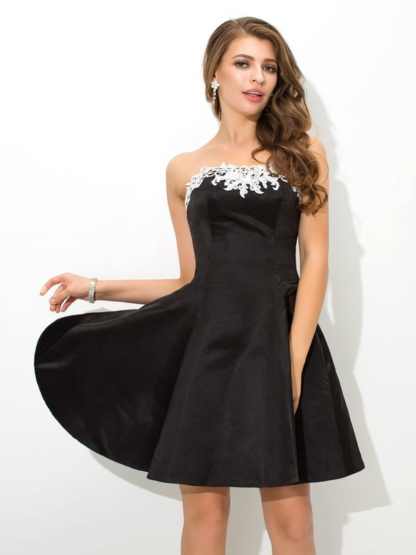 Pleased to be Me Princess Style Strapless Applique Short Satin Cocktail Dresses