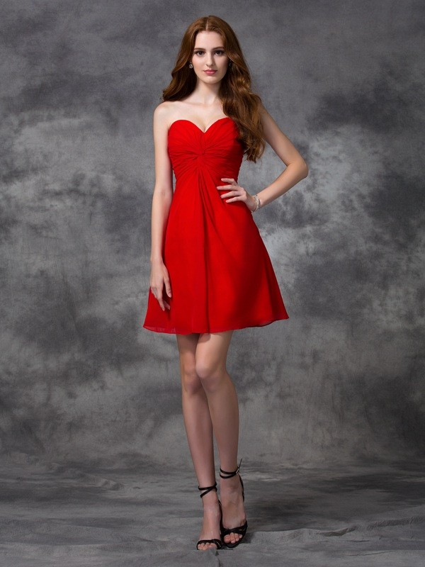 Time to Shine Princess Style Sweetheart Ruched Short Chiffon Cocktail Dresses