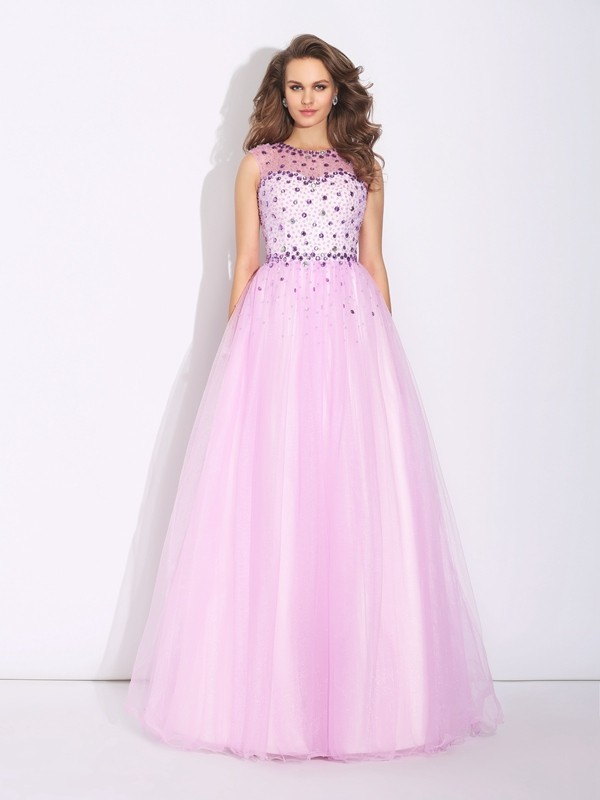 Pretty Looks Princess Style Jewel Rhinestone Long Net Dresses
