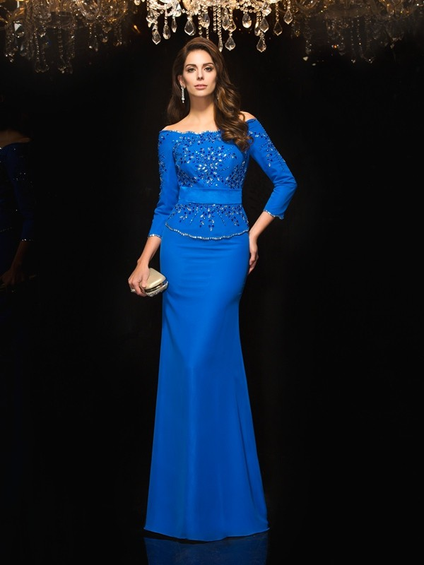 First Impressions Sheath Style Off-the-Shoulder Beading Long Chiffon Dresses