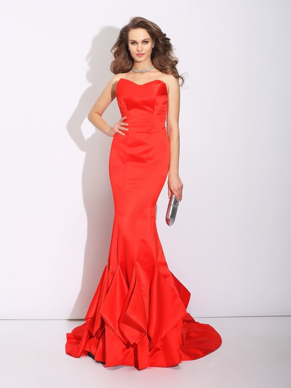 Pleased to be Me Mermaid Style Sweetheart Layers Long Satin Dresses